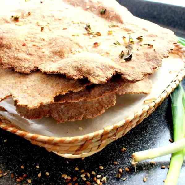 Crispbread with Sesame Seeds and Spring-on