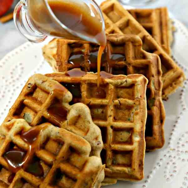Apple Pancetta Waffles with Bourbon Cider