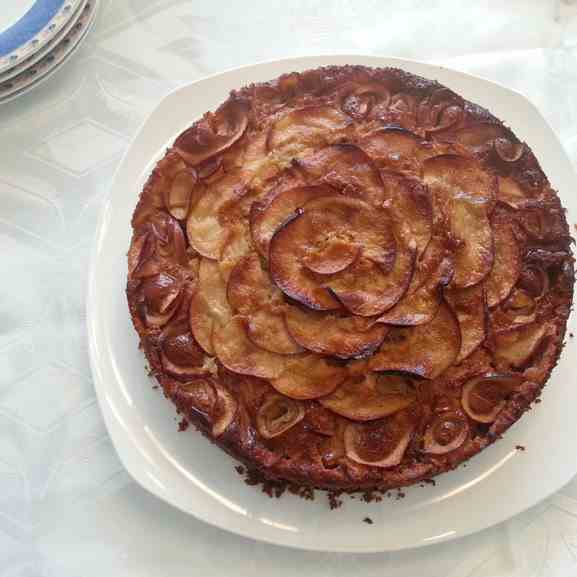 Honey cake with apple flowers