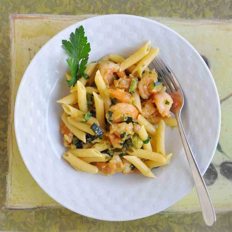 Pasta with Shrimps and Zucchini