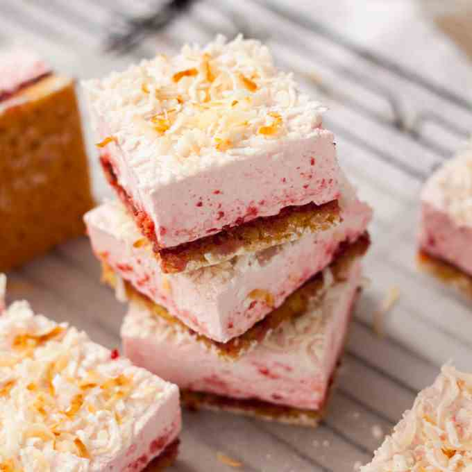 Raspberry Coconut Marshmallow Slice