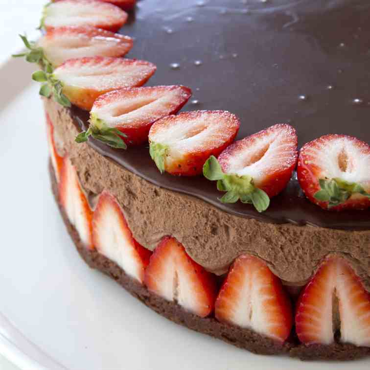 Chocolate and Strawberry Mousse Cake