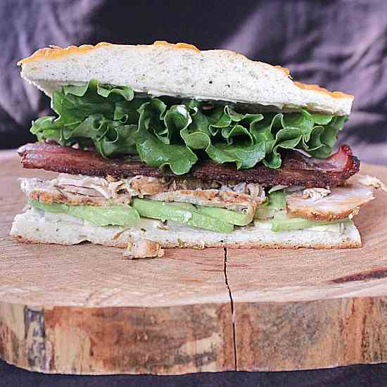Roast Turkey Avocado Bacon on Focaccia