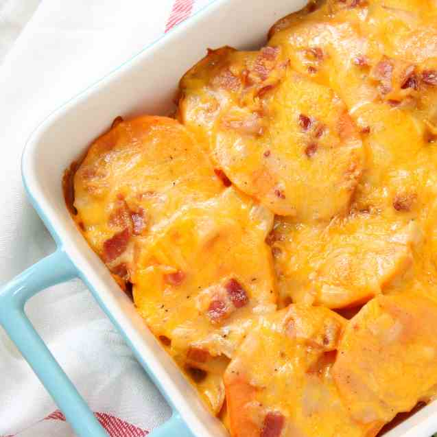 Sweet Potato Gratin with Bacon