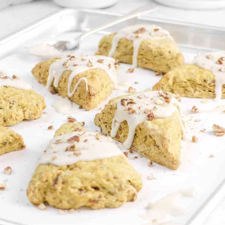 Glazed Pumpkin Pecan Scones