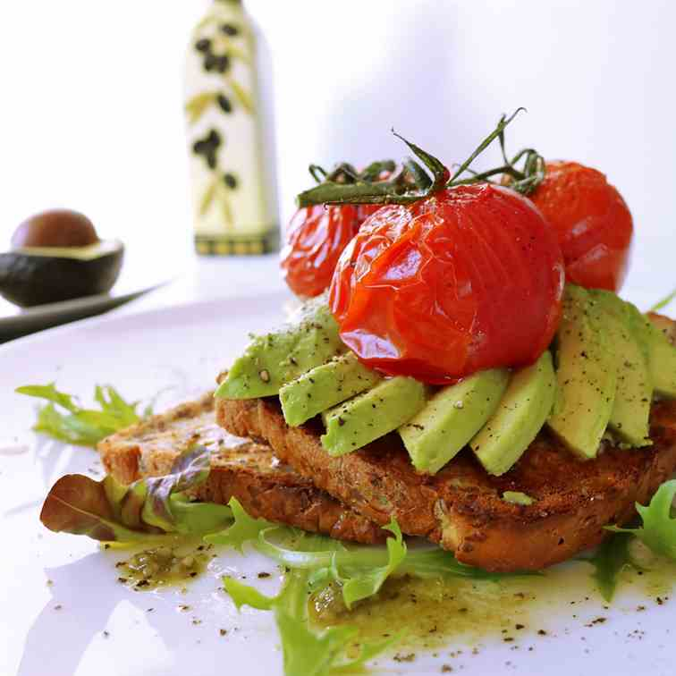 Roasted Truss Tomatoes - Avocado