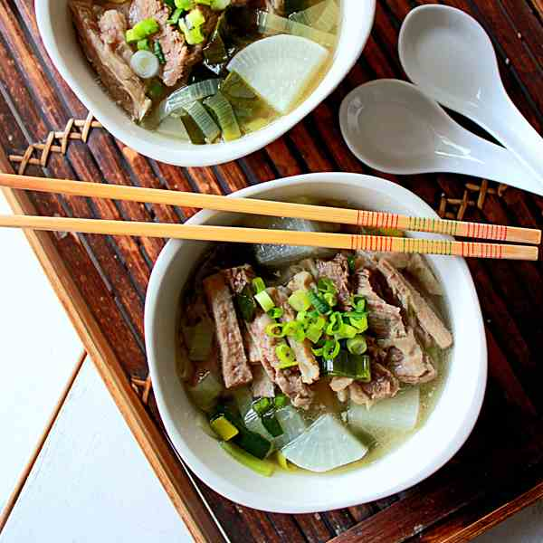 Beef brisket in clear broth
