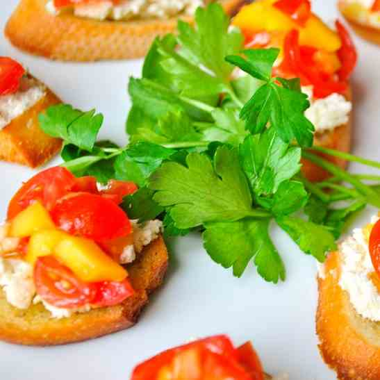 Crostini with Boursin Cheese and Tomato