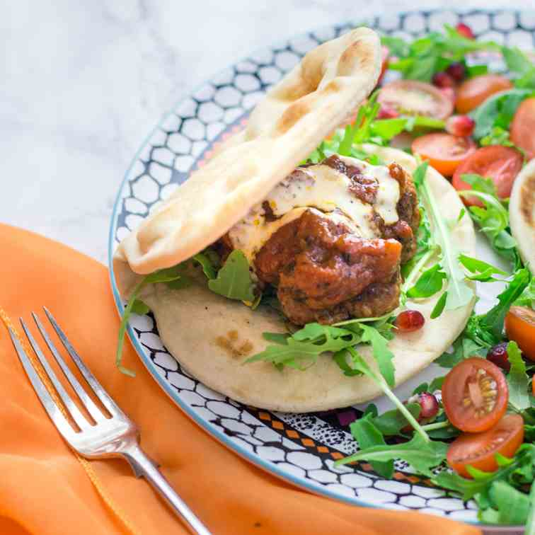 Moroccan Meatball Flatbreads with Aioli