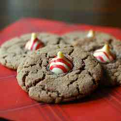"Candy Cane ""Kissed"" Nutella Cookies"