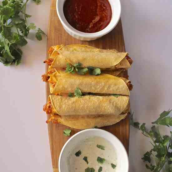 Slow Cooker BBQ Chicken Taquitos