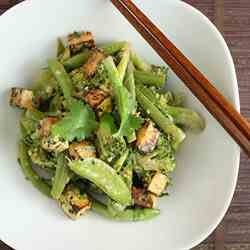 Green Vegetables, Miso and Sesame Salad