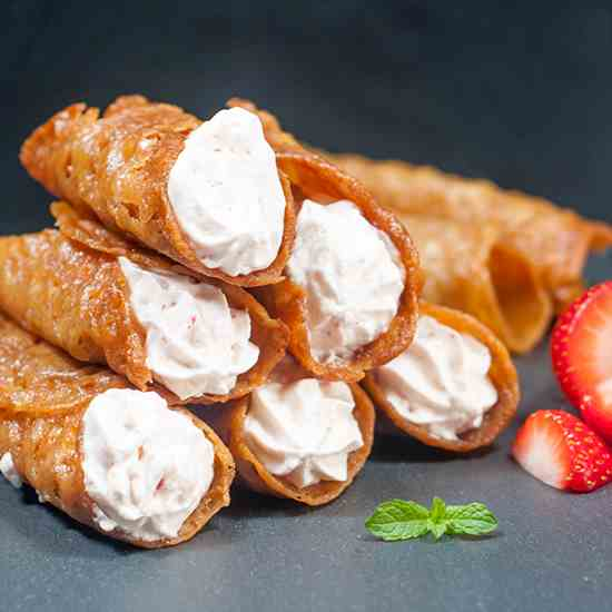 Strawberry Stuffed Brandy Snaps