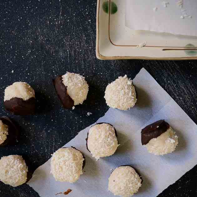 Coconut Butter Balls Dipped in Dark Choco