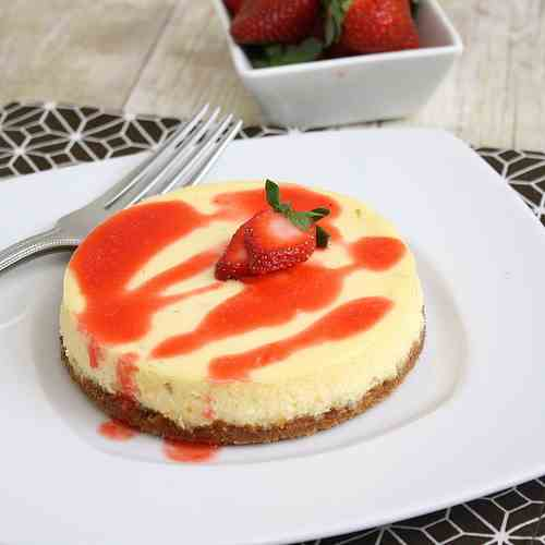 Lime Cheesecakes with Strawberry Sauce