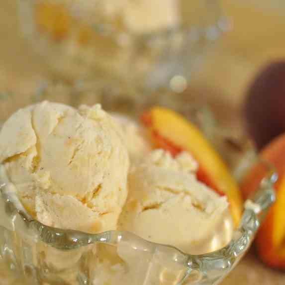 Peach Bourbon and Vanilla Ice Cream