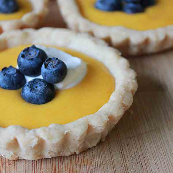 Blueberry mango curd shortbread tartlets
