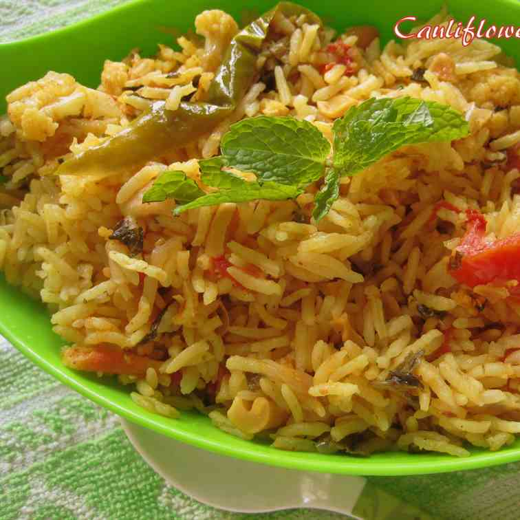 Cauliflower channa rice