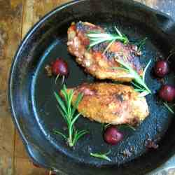 Chicken Stuffed with Cherries and Shallots
