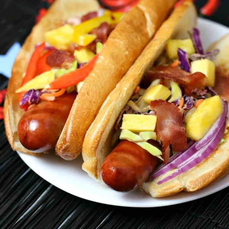 Hot Dogs with Pineapple Bacon Chipotle Sla