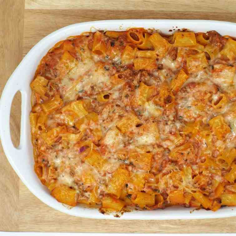 Baked Rigatoni with Sausage and Peppers