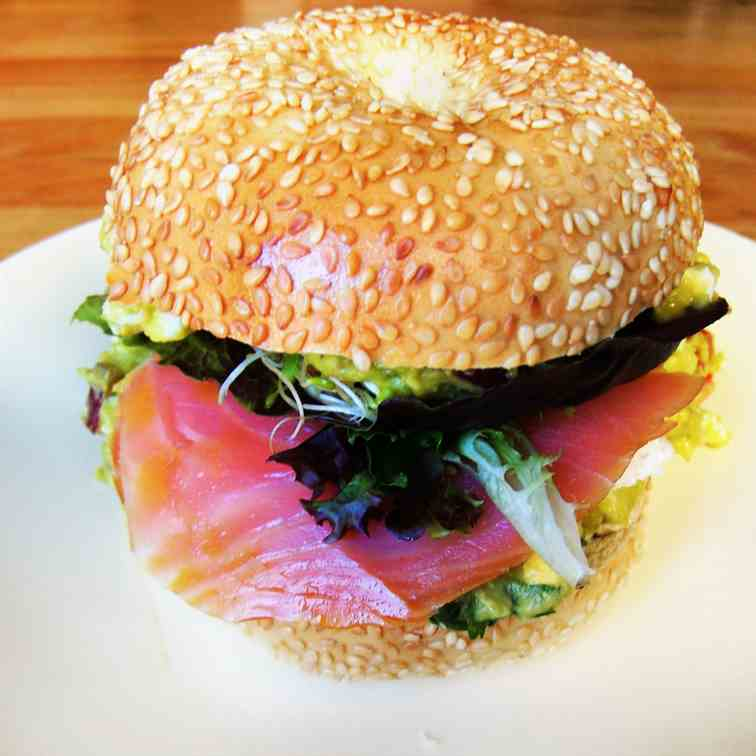 Smoked Salmon Avocado Bagel Sandwich