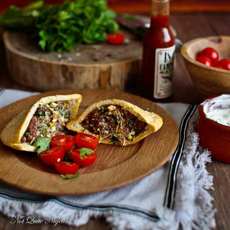 Hawawshi Beef Stuffed Pita Bread