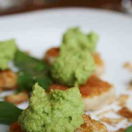 Prwn Cakes with Green curried pea puree