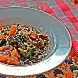 Kale and Kidney Bean Soup with Chorizo