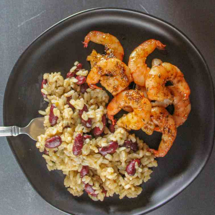 Jerk Shrimp with Rice and Beans