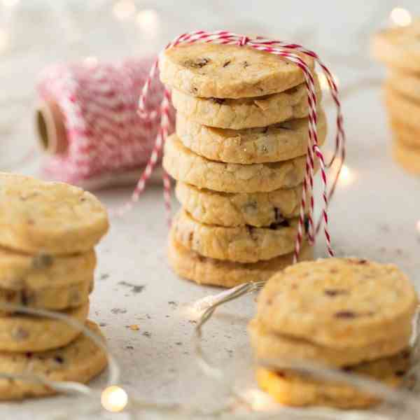 Orange Cranberry Shortbread Cookies