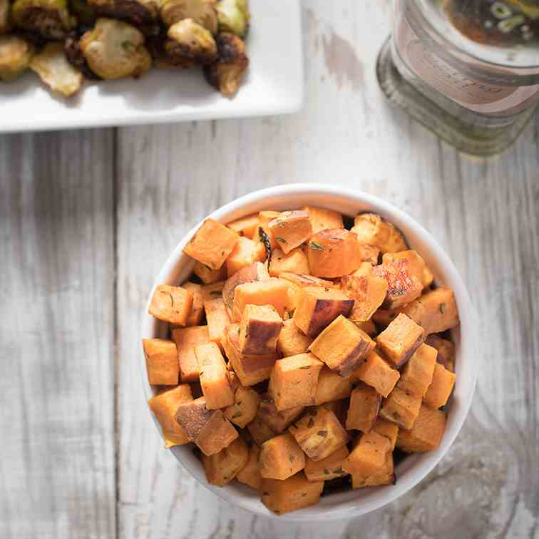 Oven Roasted Sweet Potato Cubes