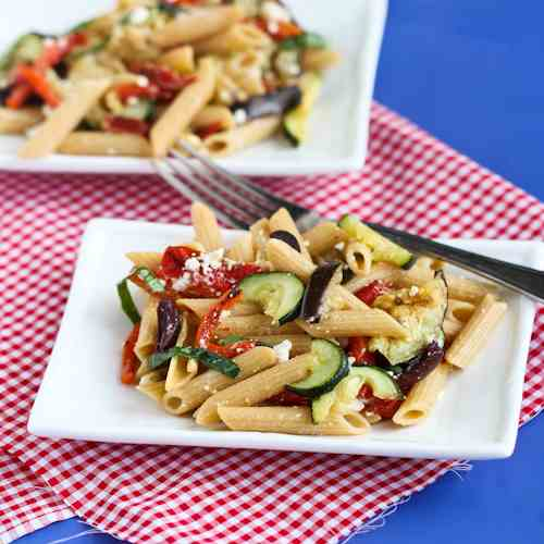 Roasted Vegetable Pasta Salad with Feta