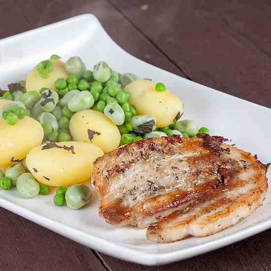 Pork belly slices and broad bean salad
