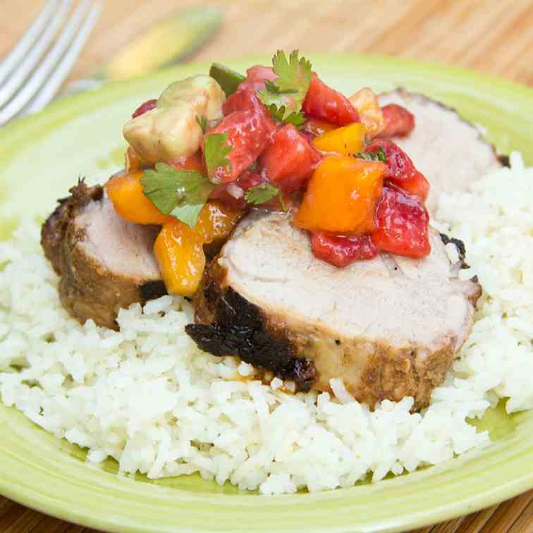 Pork Loin with Strawberry Mango Salsa