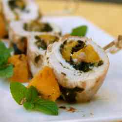 Chicken Rolls with Peaches & Spinach