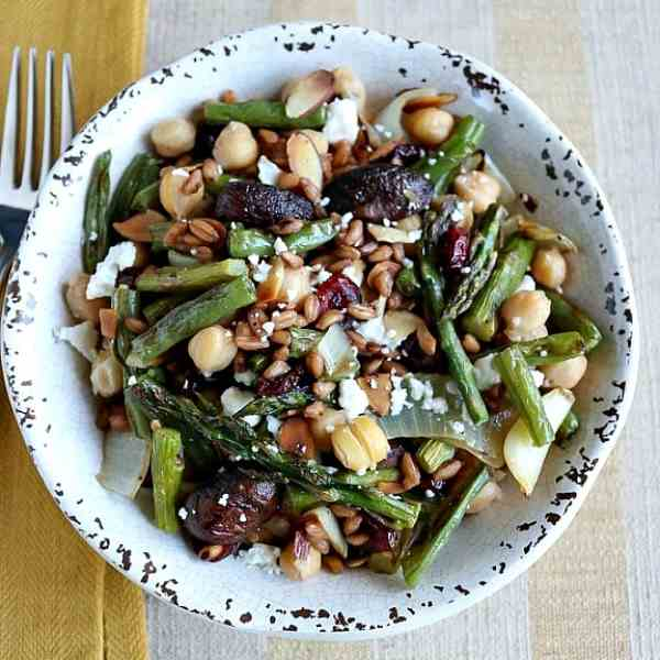 Roasted Mushroom - Green Bean Farro Salad