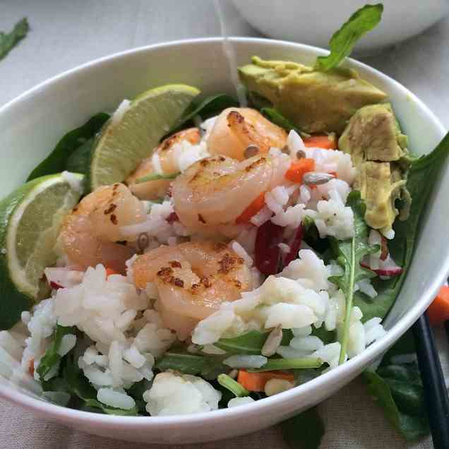 Grilled Shrimp and Avocado Sushi Salad