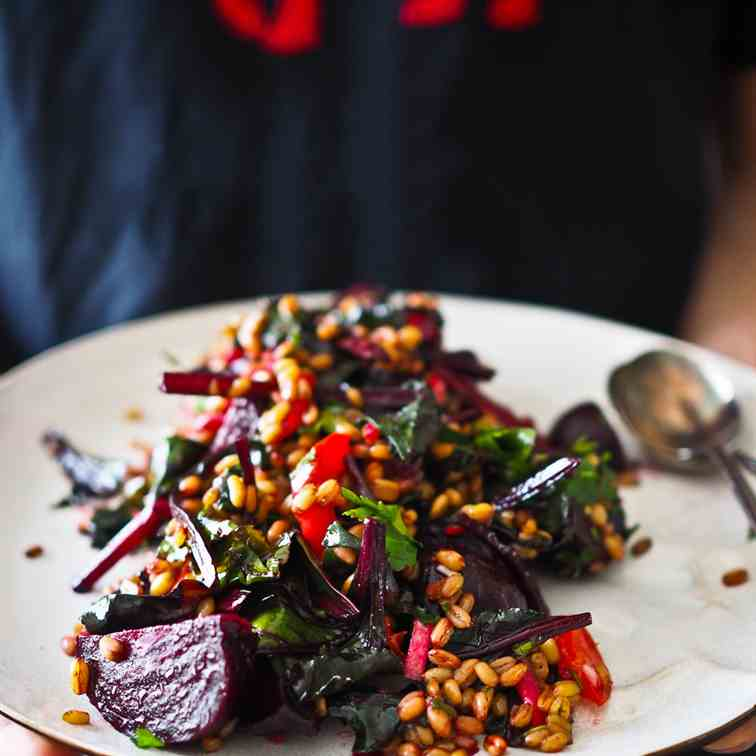 Farro, Beetroot - Beet Green Salad