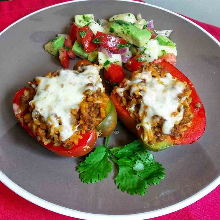 Spicy Lentil and Brown Rice stuffed Pepper
