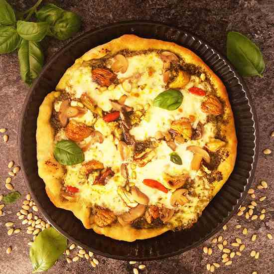 Roast Chestnut Pizza with Pine Nuts