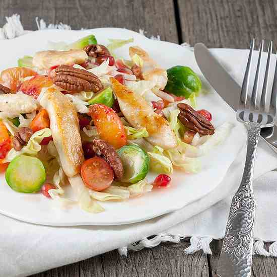 Chicken and Brussels sprouts salad