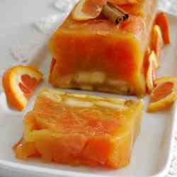 Orange and Banana Terrine in Peach Jelly