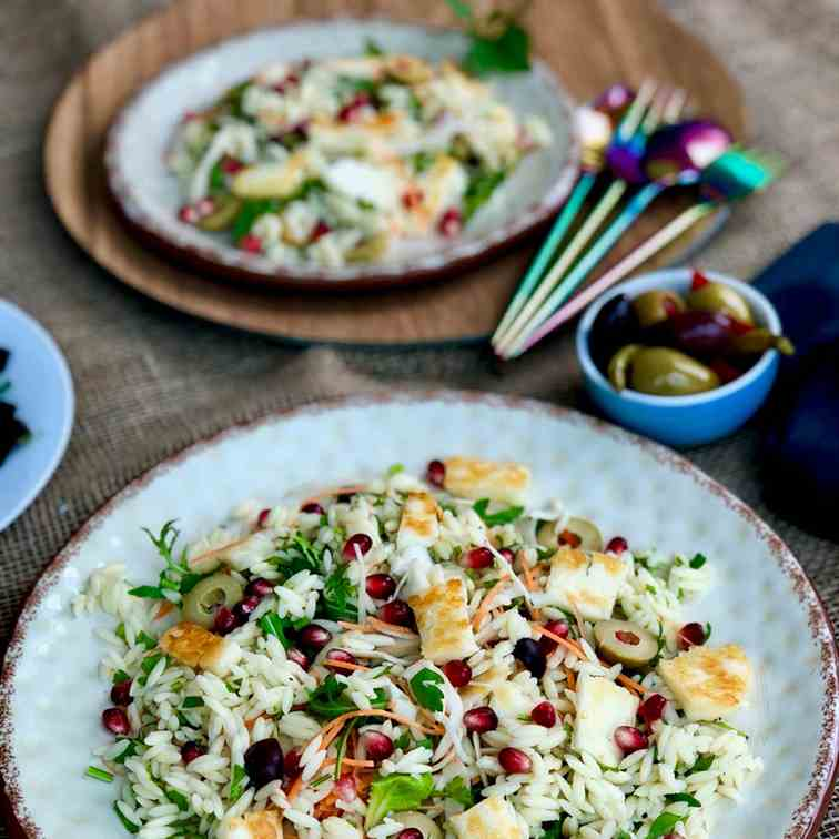 All seasons orzo, halloumi and olive salad