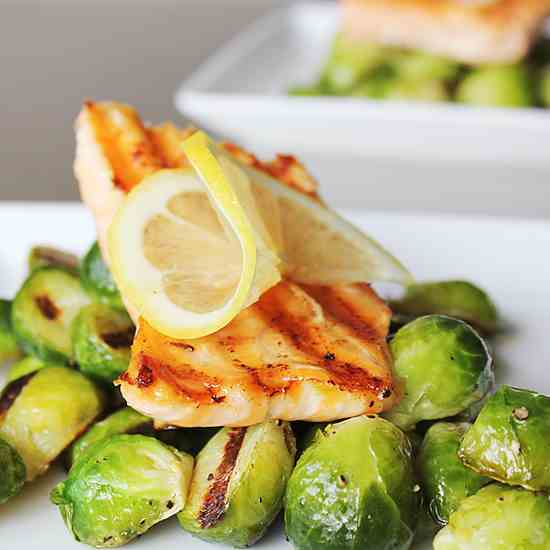 Salmon with Organic Brussels Sprouts