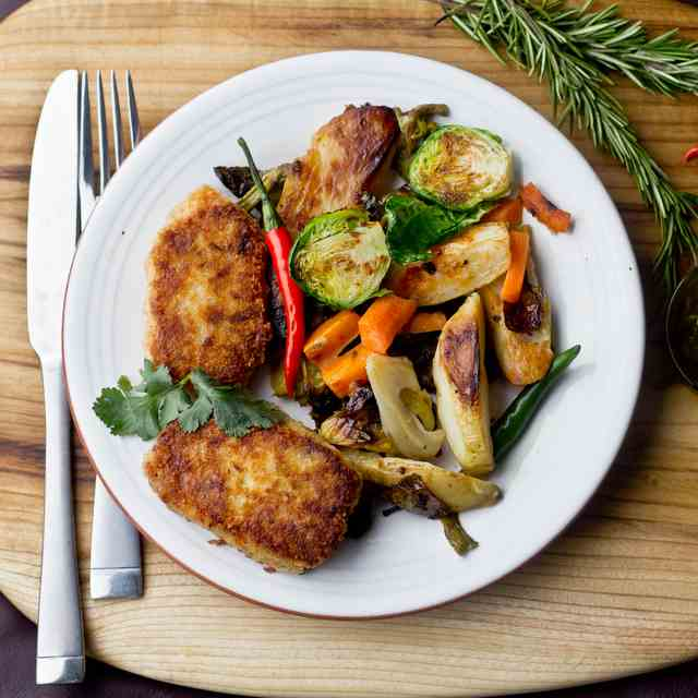 Buckwheat Patties with Roasted Vegetables