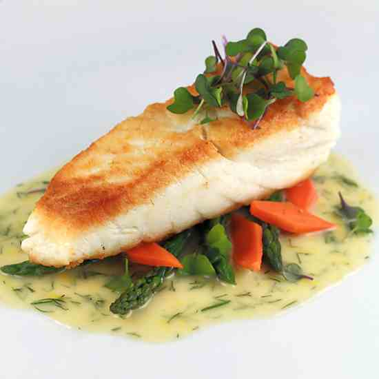 Pan Seared Halibut with Lemon Dill