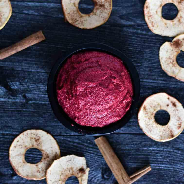 Beet Hummus with Cinnamon Apple Chips