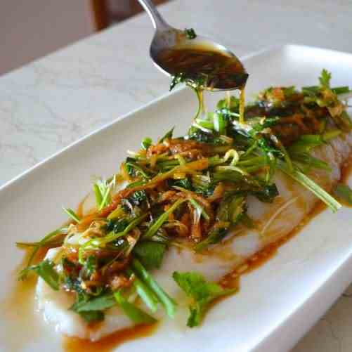 GINGER SCALLION SOY STEAMED FISH