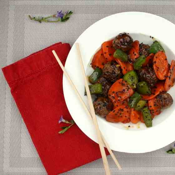 Soy meatballs with stir fried vegetables